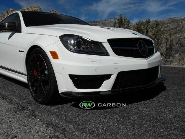 RW-Carbon-Fiber-Black-Series-Style-Front-Lip-Spoiler-Mercedes-W204-C63-AMG-507-3