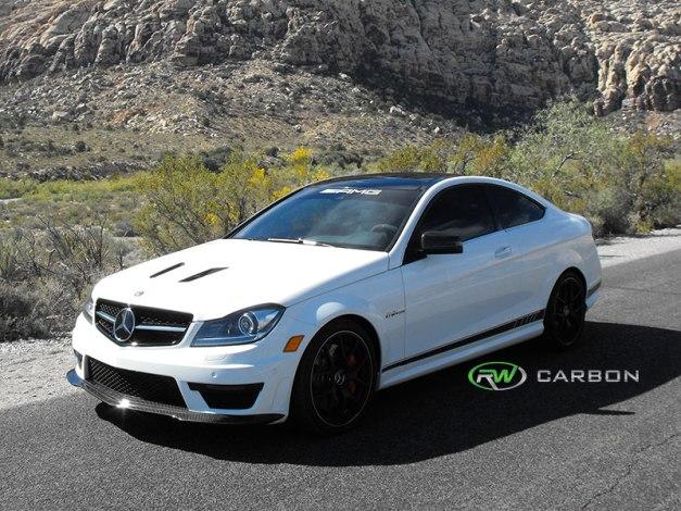 RW-Carbon-Fiber-Black-Series-Style-Front-Lip-Spoiler-Mercedes-W204-C63-AMG-507-4