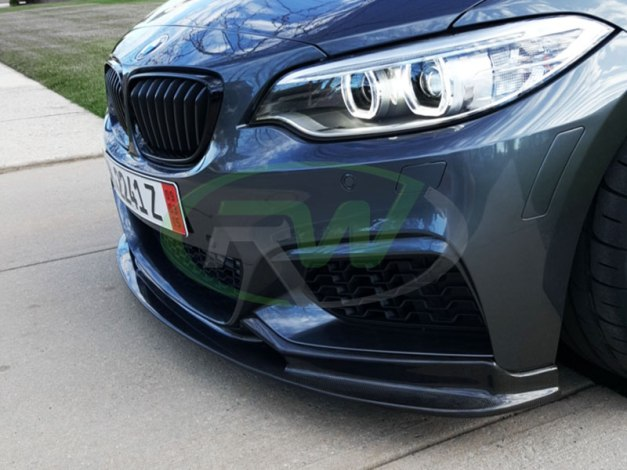 RW-Carbon-Fiber-3D-Style-Front-Lip-Spoiler-Grey-BMW-F22-M235i-3