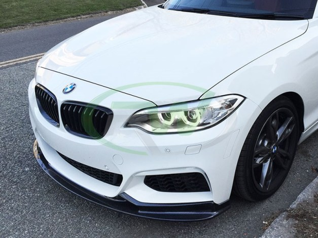 RW Carbon Fiber 3D Style Front Lip BMW F22 M235i White 1