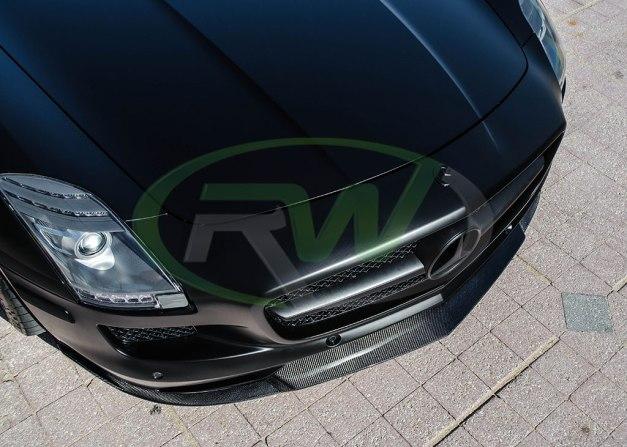 RW-Carbon-Fiber-Renn-Style-Front-Lip-Mercedes-SLS-AMG-Black-3