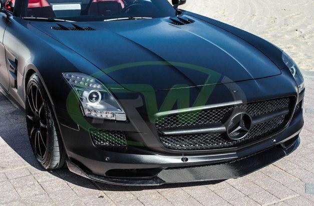 RW-Carbon-Fiber-Renn-Style-Front-Lip-Mercedes-SLS-AMG-Black-5