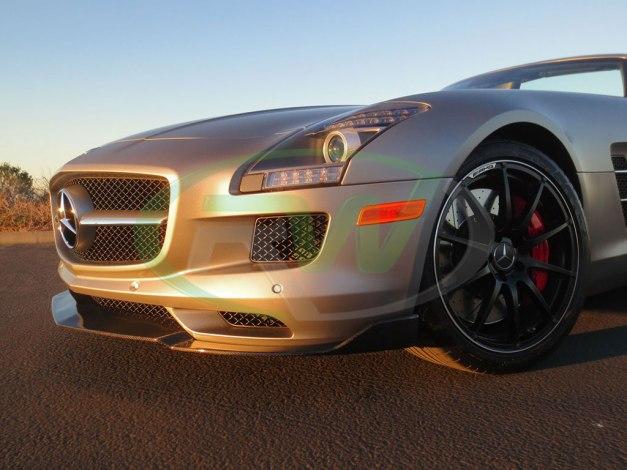 RW-Carbon-Fiber-Renn-Style-Front-Lip-Mercedes-SLS-AMG-Silver-2