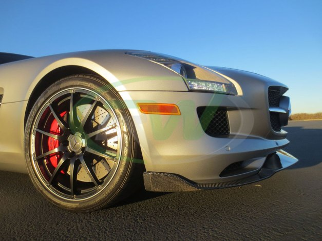 RW-Carbon-Fiber-Renn-Style-Front-Lip-Mercedes-SLS-AMG-Silver-4