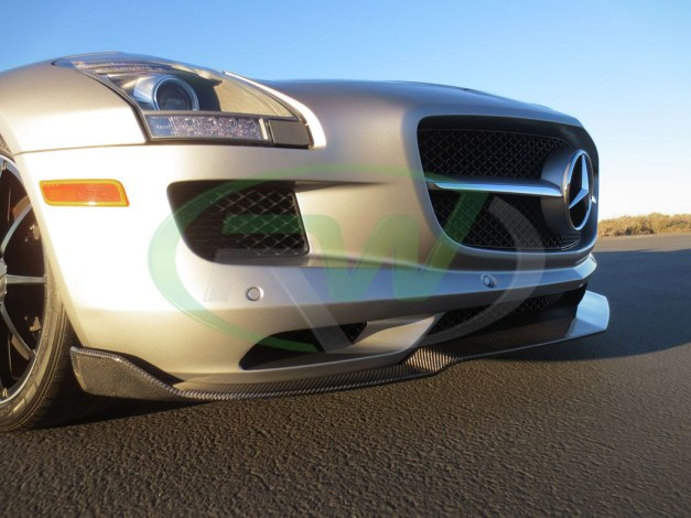 RW-Carbon-Fiber-Renn-Style-Front-Lip-Mercedes-SLS-AMG-Silver-8